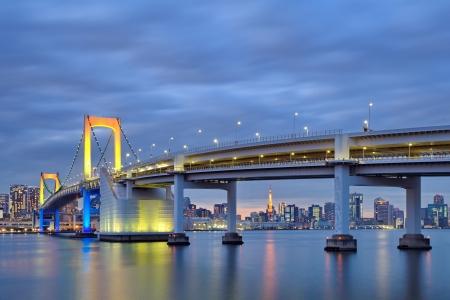 Tokyo Bay at Rainbow Bridge and tokyo tower photo