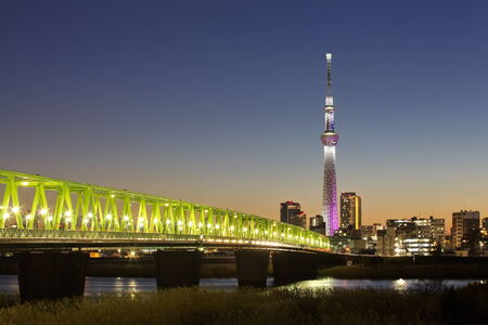 Tokyo city view and tokyo skytree , sihouette skyline photo