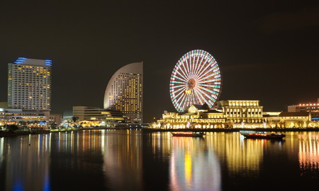 야경 미나토 미라이 지역에서 요코하마의 스카이 라인