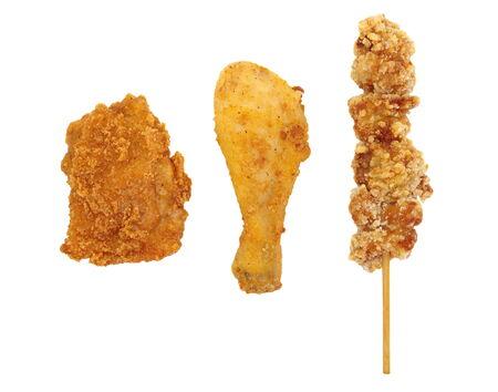 Assorted Fried chicken , Fried chicken breast , fried chicken drumstick and fried chicken on a stick photo