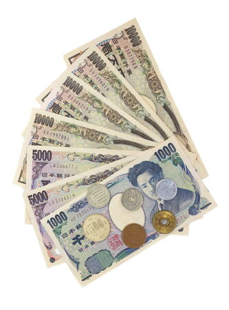 yen note: Close - up Japanese currency yen , bank notes and coins Stock Photo