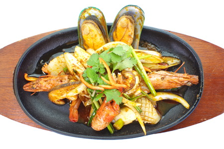 pan fried: Frutti di mare pan asiatica fritto isolato su bianco Archivio Fotografico