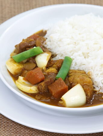 beef curry: japanese traditional food beef curry and vegetable with steamed rice