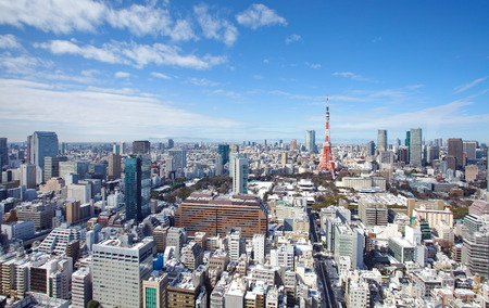 Skyline of Tokyo , Japan at Tokyo Tower Stock Photo