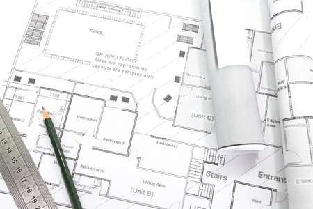 Architect Rolls And Plans Architectural Plan Stock Photo, Picture