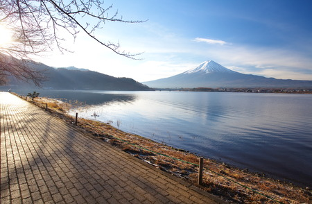 mountain fuji in morning winter from lake kawaguchiko , yamanashi prefecture photo