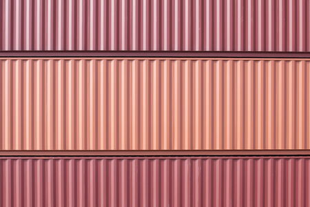 cargo container: Stacked cargo containers in freight sea port terminal