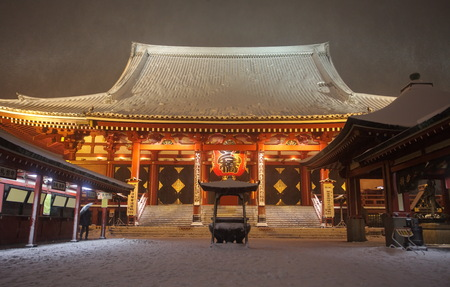 Japan temple , Asakusa Sensoji at snow falling time photo