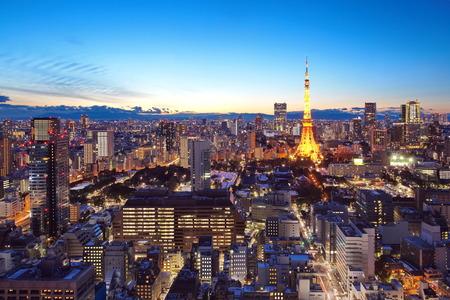 일몰 시간 동안 도쿄 시내와 도쿄 타워의 viwe
