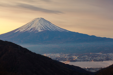 mountain fuji in morning winter from lake kawaguchiko photo