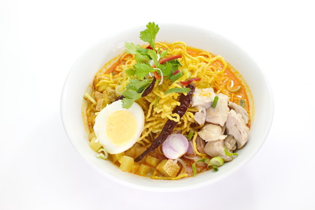 Chiang Mai noodles, curried noodle soup, North Thai food photo