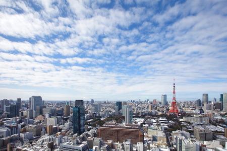 좋은 낮 도쿄 시내와 도쿄 타워의 전망