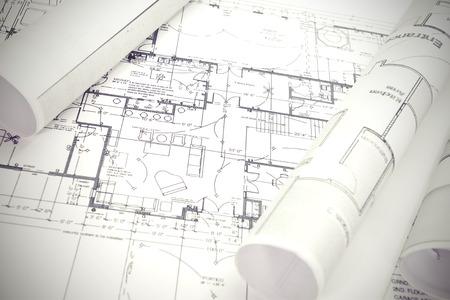 rouleaux d'architecte et des plans plan architectural Banque d'images