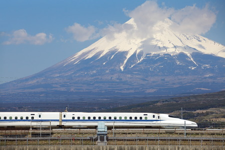 japan sky: View of Mt Fuji and Tokaido Shinkansen, Shizuoka, Japan