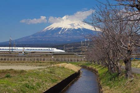 japan bullet train shinkansen and mountain fuji photo
