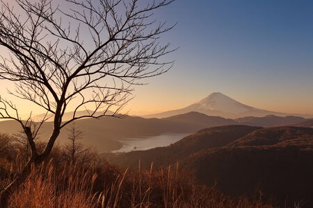 Mountain fuji in evening from hakone japan photo