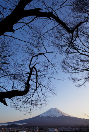 mountain fuji in winter from Fujiyoshida town  photo