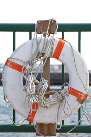 Lifebuoy for safety and rescue  at a Harbour  photo