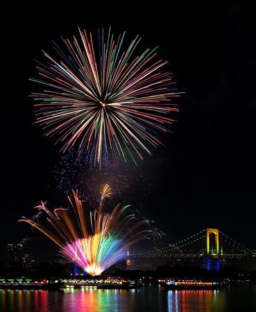 tokyo odaiba bay fireworks festival at rainbow bridge photo