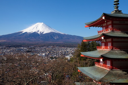 mountain fuji and chureito pagada from kawagushiko , yamanashi prefecture photo