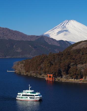 mountain fuji and ashi lake at moto hakone , kanagawa prefecture, japan photo