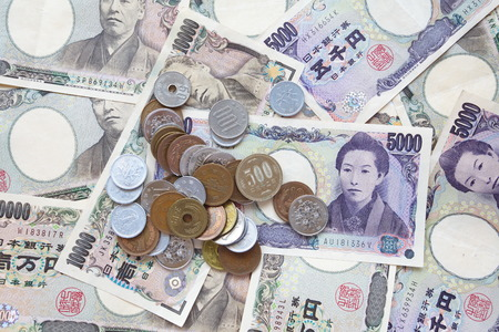 japanese currency: close - up japanese currency or japanese yen Stock Photo
