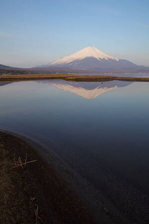 mountain fuji in morning at yamanakako lake photo