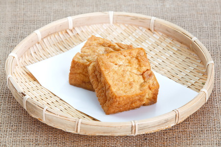 deep fried tofu bubble or bean curd tofu photo