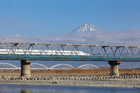 View of Mt Fuji and Tokaido Shinkansen, Shizuoka, Japan photo