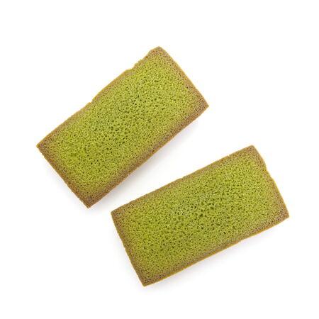 financier: Japanese Maccha green tea financier cake on white