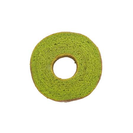 maccha: Maccha green tea baum cake on white background