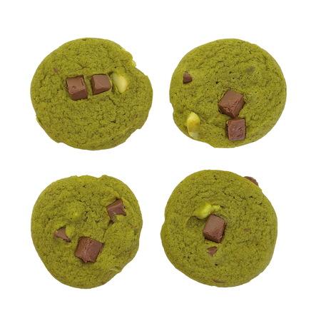 maccha: Japanese Maccha green tea cookies on white background
