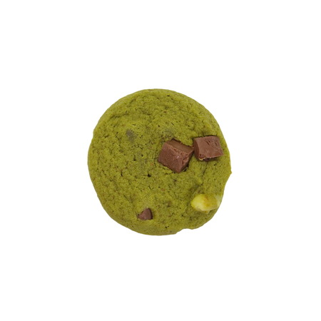Japanese Maccha green tea cookies on white background photo