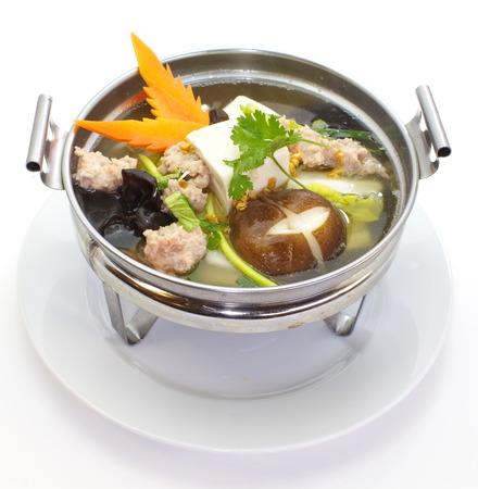mild: Mild soup with vegetables, pork, mushrooms and bean curd