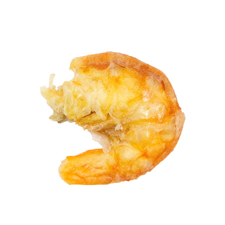 Uncooked food dried shrimp on white photo