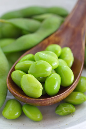 soya bean plant: Japanese healthy appetizer edamame green soy beans Stock Photo