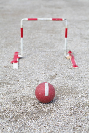 Japanese gateball it is similar to croquet photo
