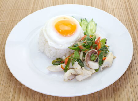 Basil fried rice with seafood , Thai food photo
