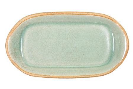 celadon green: Thailand Celadon ceramic dishes on white
