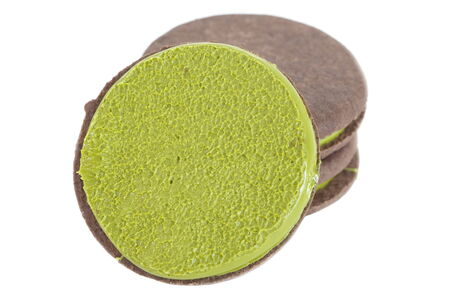 maccha: japanese maccha green tea cookies on white
