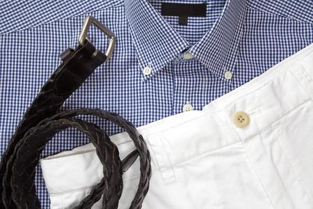 khaki pants: White short pants with shirt and belt