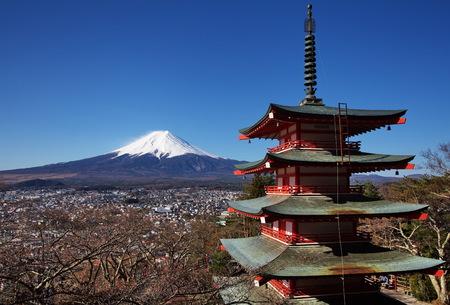 mountain fuji and chureito pagada from kawagushiko , yamanashi prefecture photo