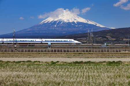View of Mt Fuji and Tokaido Shinkansen, Shizuoka, Japan photo