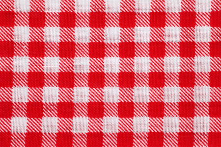 Red and white picnic tablecloth checkered pattern photo