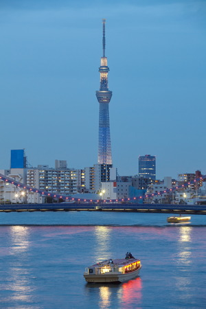 sumida: View of Tokyo sky tree and sumida river at twilight  Editorial