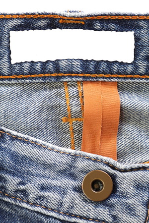 Close - up Blue jeans with blank label photo