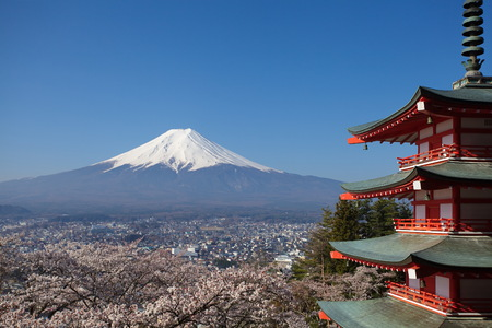 view of mountain fuji taken from chureito pagoda at kawaguchiko , japan photo