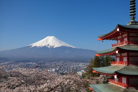 view of mountain fuji taken from chureito pagoda at kawaguchiko , japan photo