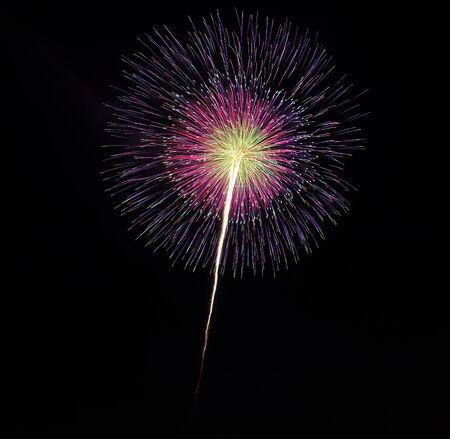 colorful firework from japanese traditional summer festival photo