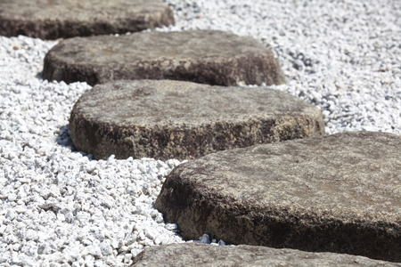 Zen stone path in a Japanese Garden  photo